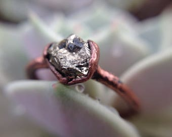 Pyrite Ring   Pyrite Copper Ring   Copper Ring   Raw Pyrite Stone   Pyrite   Mineral Ring   Ready-To-Ship