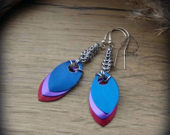 Dragon Scale chainmaille earrings, hand crafted lightweight aluminium colourful dangle earrings, dragon jewelry, dragon gift, aluminium gift