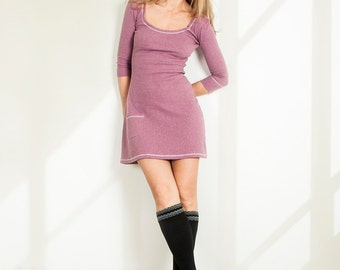 Purple dress Cotton dress Warm dress Home dress Day dress Mini day dress Cute dress