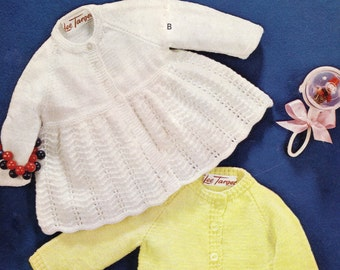 ON SALE - Vintage pdf of  Knitting Baby Patterns - Lee Target 6648 - 4ply Two baby coats 18ins to 21ins