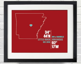 Arkansas Coordinate Personalized Wedding or Anniversary Gift, Map Print or Canvas, Bridal Shower Gift Ideas, Bride and Groom Names