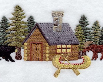 Northwoods Cabin Embroidered Flour Sack Hand/Dish Towel