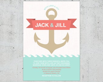 Nautical Wedding Invitation | Printable DIY | Color Customizable