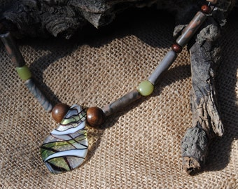 Kiwi Lampworked Glass Pendant Necklace
