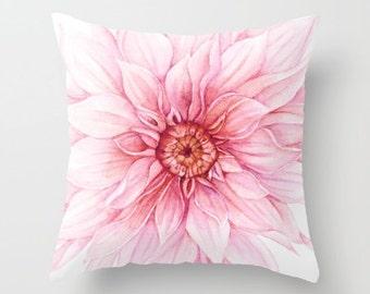 Dahlia Pillow Cover - Pink Flower Pillow Cover - Modern Decor - Aldari Home