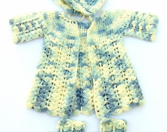 Vintage Handmade Crochet Baby Set Sweater Jacket Booties Hat Bonnet Blue White Shower Gift Homecoming Outfit