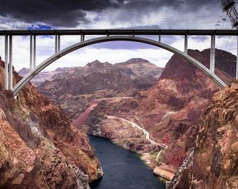 Photograph - Hoover Dam - Nevada - Bridge - Landscape - Lake Mead