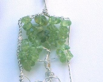 Silver Tree of Life necklace with  Peridot Gemstones, rectangular pendant and chain