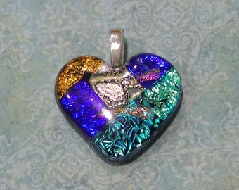 Heart Necklace, Blue, Turquoise, Orange Dichroic Glass Pendant, Heart Pendant, Fused Glass Jewelry - Affectionately Yours - 3254 -2