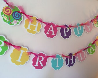 Sweet Shoppe Birthday Banner/Sweet Shoppe Party/ Candy Buffet Banner/Lollipop Banner/ Customized Banner/ Personalized Banner,