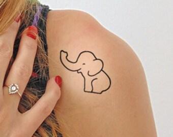 Elephant - Temporary Tattoo (Set of 2)