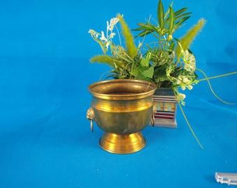 Brass pots, lion head, flower pots, vintage,