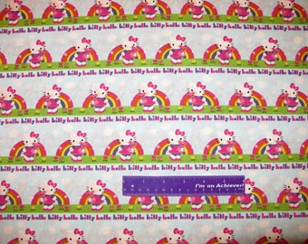 Sanrio HELLO KITTY Rainbow Teddy Bear Sky Stripe Cotton Fabric By The Half Yard