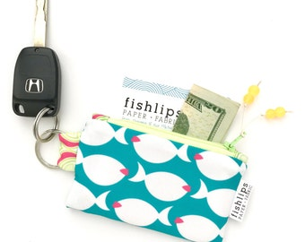 Stocking Stuffer, Key Chain Change Purse, Small Fish Zipper Pouch, Nautical Credit Card Holder, Coastal Living Bag, Aqua Gift for Teen Girl