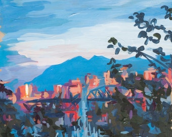"Original Painting of Vancouver // Sunset (Vancouver no. 17) // 11"" x 11"" // Original Acrylic Painting on Paper"