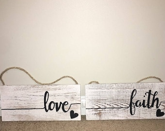 Love and Faith wooden signs