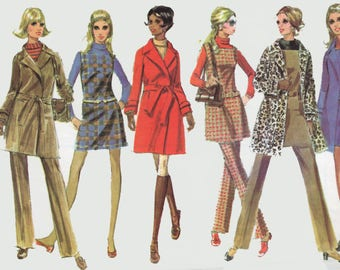 Vintage 60s MOD Wrap Tench Coat Mini Jumper Tunic and Pants Sewing Pattern McCalls 2059  1960s Sewing Pattern Size 10 Bust 32.5 UNCUT
