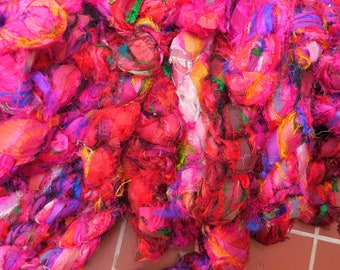 SALE Lot  2  Red /Pink  Moroccan Bazaar Eyelash Ribbon, Boho Sari Silk Ribbon,  Fair Trade item READ DESCRIPTION