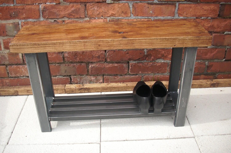 Black Metal Shoe Bench