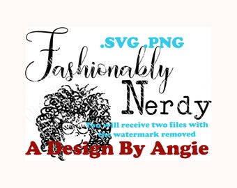 Fashionably Nerdy Curly Haired Girl Clipart SVG PNG w/ Glasses Curly Hair Nerd Bookworm