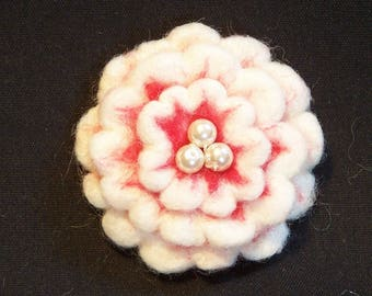 Needle Felted Flower in Red and White - Felt Flower - Your Choice of Pin Back, Barrette, or Pony Tail Elastic - Gift for Her - Needlefelt
