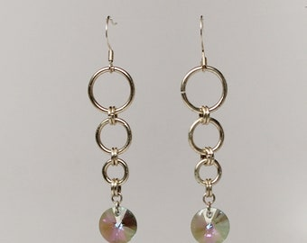 Silver plated Swarovski crystal chainmaille earrings (paradise Shine)