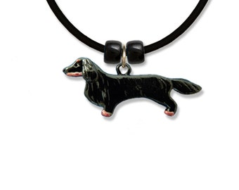 Enamel Black & Tan Long Haired Dachshund Necklace