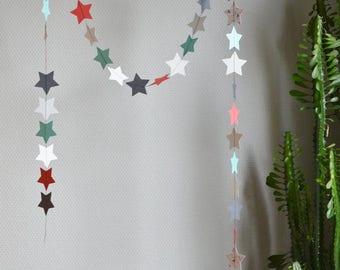 "Decorative stars ""Jade"", paper Garland, paper textured polka dots, glitter paper, patterned paper, black cotton thread"