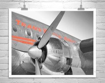TWA Airplane Art, Aviation Art, Gift for Pilots, Airplane Photo, TWA Constellation, Vintage Aircraft Art, TWA Picture, Aviation Decor