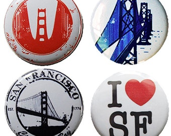 San Francisco Magnets - set of four super strong magnets