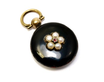 Antique Victorian 14k gold black enamel pearl ruby mourning locket back pendant