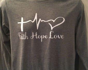 Faith, hope and love t shirt