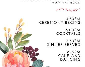 Dark Pink Floral Botanical Wedding Program 5x7 Custom
