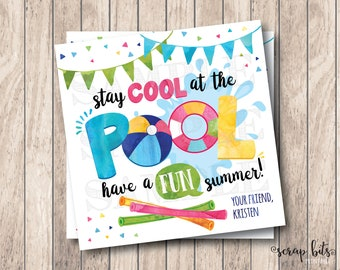 Stay Cool In The Pool Tags, Have A Fun Summer, Personalized Printable Summer Tags, Printable End of Year Tags, School's Out Tags, Pool Party