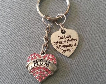 Mom Pink Rhinestone Heart Keychain / Mothers Day Keychain / Gift for Mom Keychain /