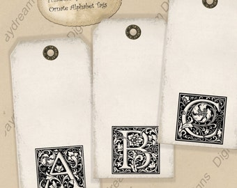 Digital Download Printable Simple Ornate Alphabet Gift Tags Collage Sheet