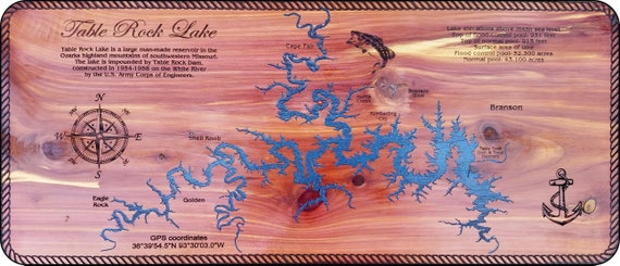 Table Rock Lake Map Laser engraved and hand painted on