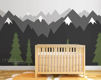Grey Ombre Mountain with Pine trees Scenery Nature seamless wallpaper peel and stick wall decal sticker