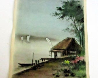 Vintage Japanese Watercolor Hut On The Harbor Ocean Seascape Landscape Painting Water Ships Boats Signed Kitano