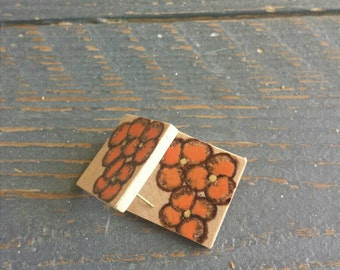 Floral Wood Stud Earrings in Tangerine