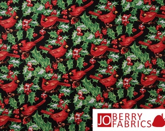 Cardinals Fabric, Winter Tidings by Blank Quilting, Quilt or Craft Fabric, Fabric by the Yard