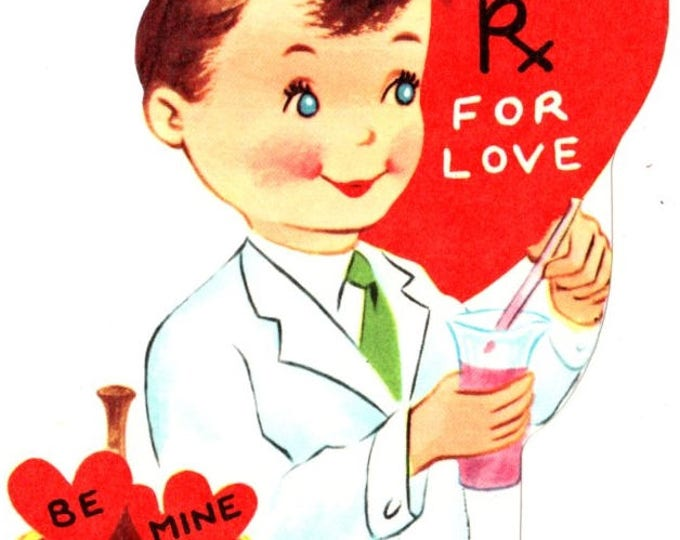 Vintage Doctor Pharmacist RX For Love Die-Cut Children's Classroom Valentine's Day Card UNUSED