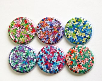 Mosaic magnets, Kitchen Magnets, Magnets, button magnets, Locker Magnets, stocking stuffer, Mosaic, Bright Colors, Abstract Design (4646)