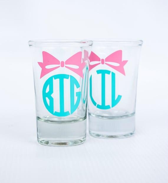 Personalized Big Sis/ Little Sis/ Lil Sis/ shot glasses/ Sorority/ Greek/ Reveal/ girl's trip/ girl's weekend