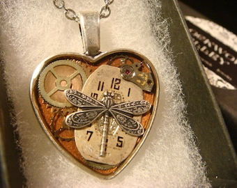 Clockwork Dragonfly Heart with Vintage Watch Parts Steampunk Style Necklace (2187)