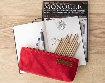 STOCK POUCH | Lightly Waxed Canvas Zipper Case | Optional Personalization | Red