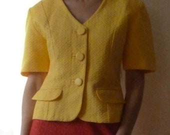 Jacket/suit with yellow summer cotton Verdosa, 1960's. Size M