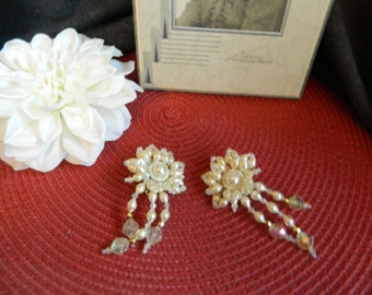 Vintage clip on pearl large earrings with pearl dangle accents