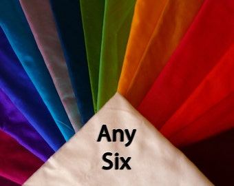 Fine Indian Silk Taffeta ANY SIX -Fat quarters