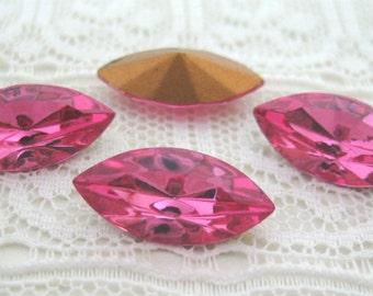 15x7 Swarovski Rose Pink Navette Glass Rhinestone Jewels